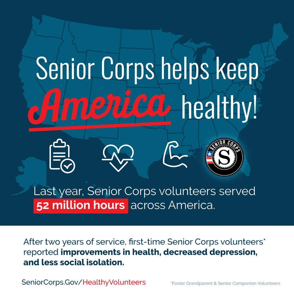 Helping other people actually helps you feel better yourself according to a report released by @NationalService last week. @SeniorCorps volunteers reported feeling less depressed and isolated compared to older adults who don't volunteer. Read the report: https://www.nationalservice.gov/programs/senior-corps/senior-corps-and-health-benefits…
