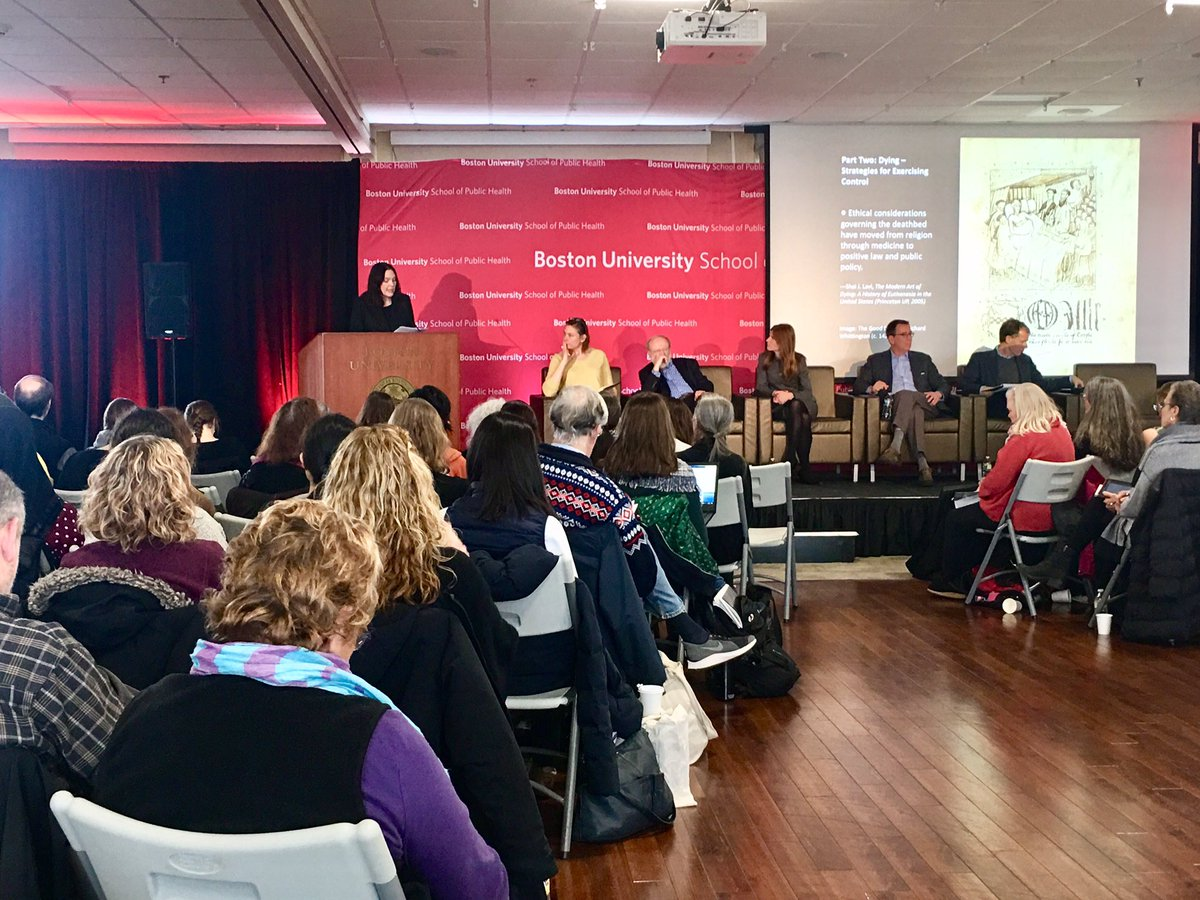 Currently listening to @georgejannas @TracyABalboni @buhumanities @bellaigueC @gapyearsam speak on strategies for exercising control at #BUSPHSymposia on death and dying. #PopulationHealth @BUSPH<br>http://pic.twitter.com/WD0YLLUT52
