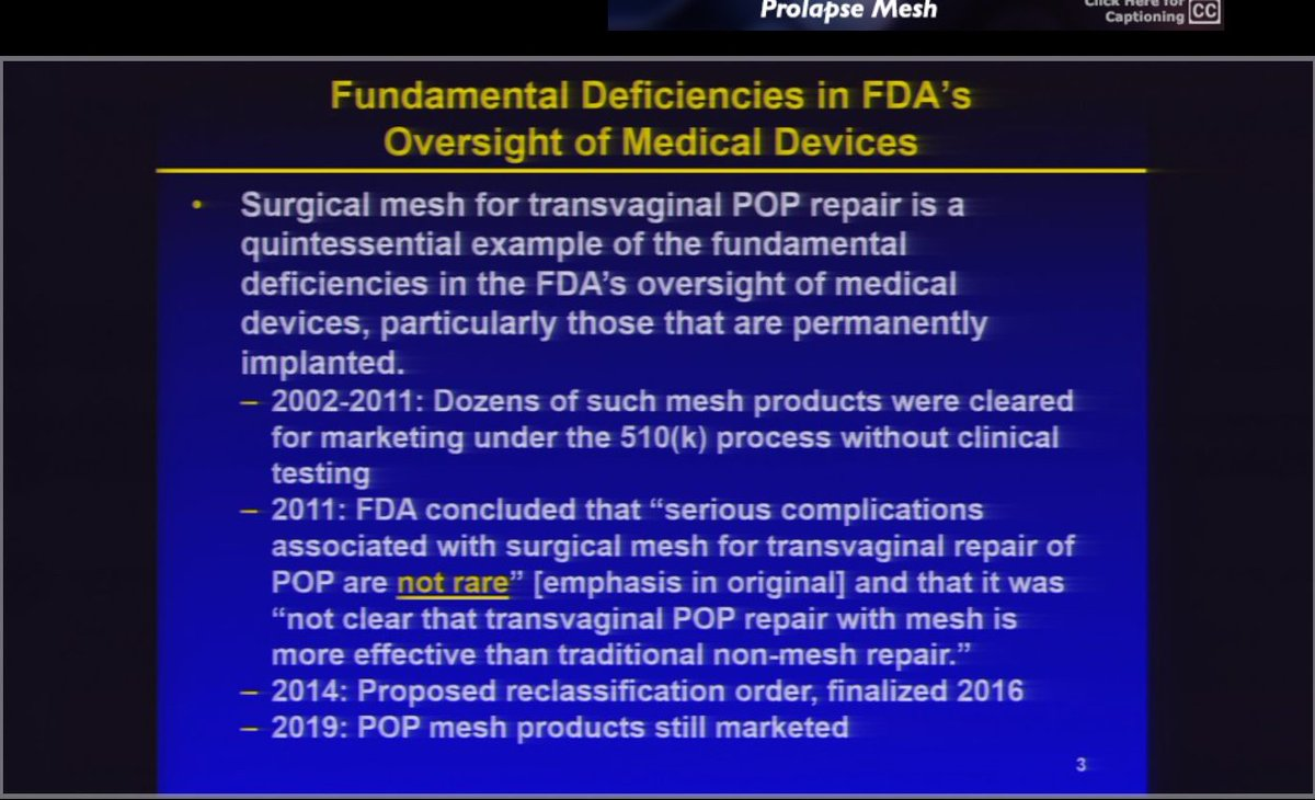 Public Citizen's Michael Carome at FDA hearing on POP mesh today.