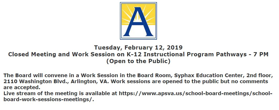 2/12 School Board Work Session agenda posted at <a target='_blank' href='https://t.co/0RBOWov12B'>https://t.co/0RBOWov12B</a> <a target='_blank' href='https://t.co/VCrXg03HcG'>https://t.co/VCrXg03HcG</a>