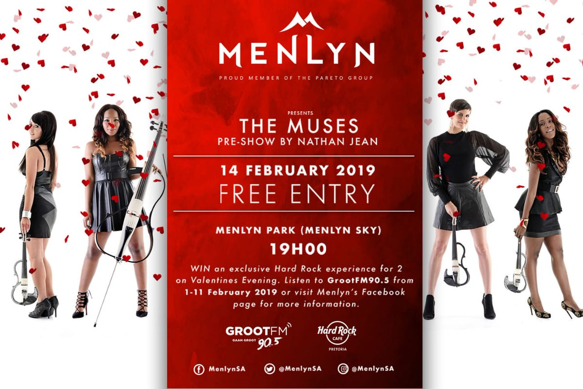 ❤️ Come celebrate #ValentinesDay with us this Thursday @MenlynSA (Menlyn Sky) with a pre-show by @NathanJeanMusic also tune into @GrootFM om Thursday at 16:30 for our interview.