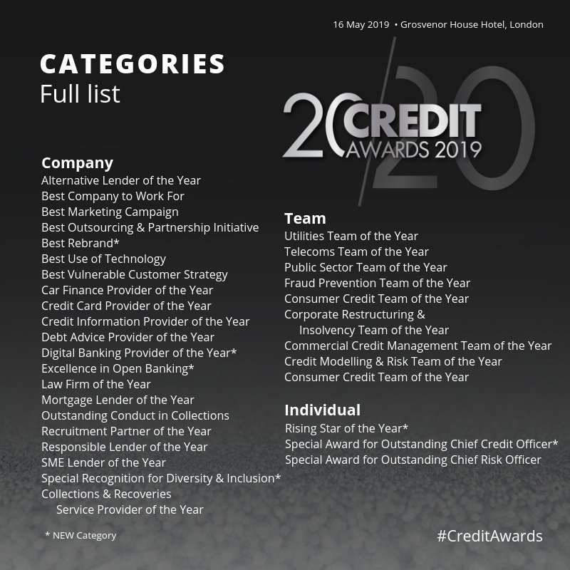 There's still time to enter the 20th #CreditAwards! Final entry deadline is this Friday 15 February. Enter now: https://www.creditstrategy.co.uk/creditawards/info/categories-for-credit-awards-2019 …