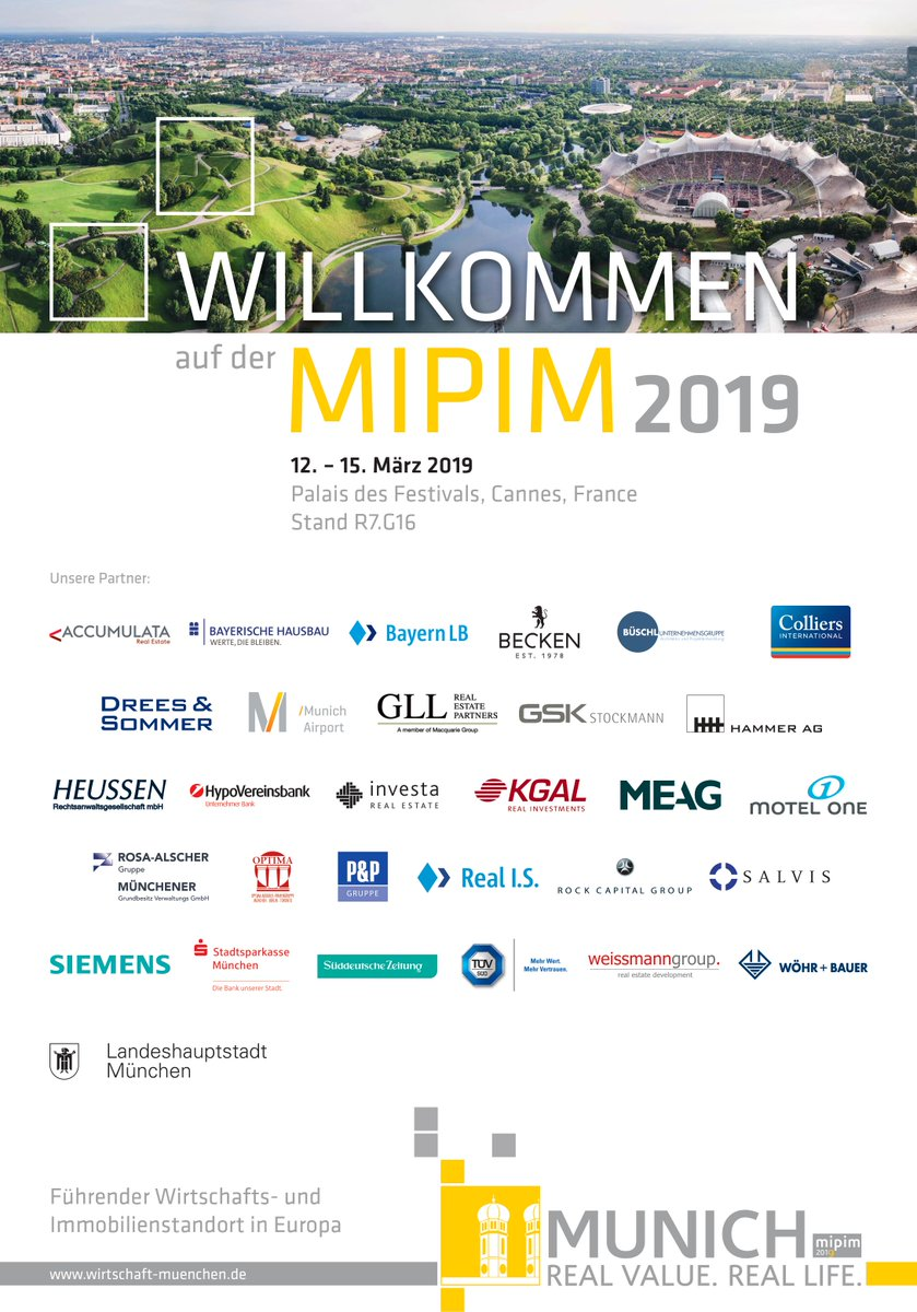 RT @MUNICH_AT_MIPIM: Countdown to #MIPIM2019: <br>The Munich booth and its 30 partners are looking forward to welcome you in one month. <br>See you at #MIPIM @MIPIMWorld ! t.co/L2Lg43dy4m