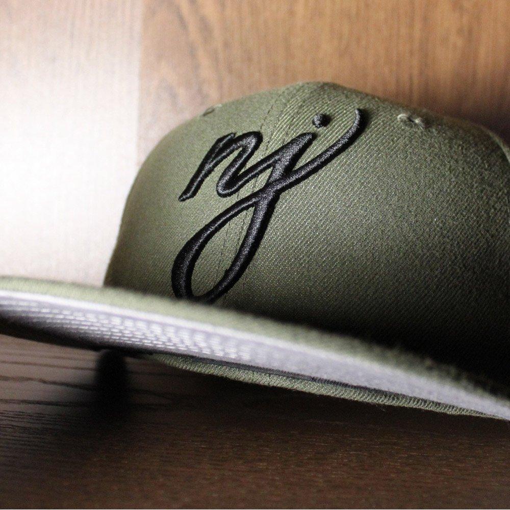 f033490198c NJ Script New Era 59Fifty Fitted Hats (Olive Black Gray Under Brim) http