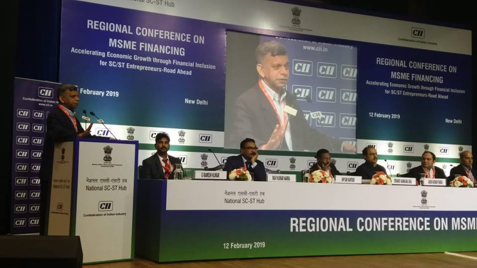 Shri Shyam Kapoor, Chairman - cum - Managing Director (CMD), NSFDC addressing the participants at Regional Conference on MSME Financing at DAIC, Janpath, New Delhi on 12th February, 2019. @NSFDC_MOSJE