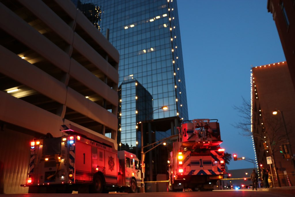 Station 1 currently on scene- 200blk of Commerce St. Just after 6am crews arrived to find a window washing rig had a cable come loose and break 2 windows on the 17th floor. FWFD is securing the hazard and closing down the street. No injuries reported