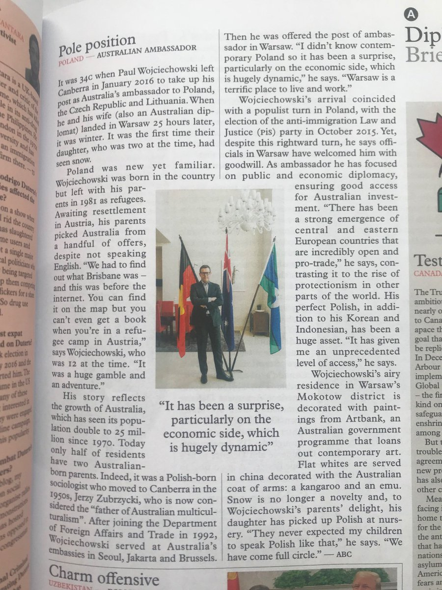 My interview with Australian Ambassador to Poland Paul Wojciechowski in February issue of #Monocle. Portrait by @pacholak. Thanks for the interview @AusAmbPoland
