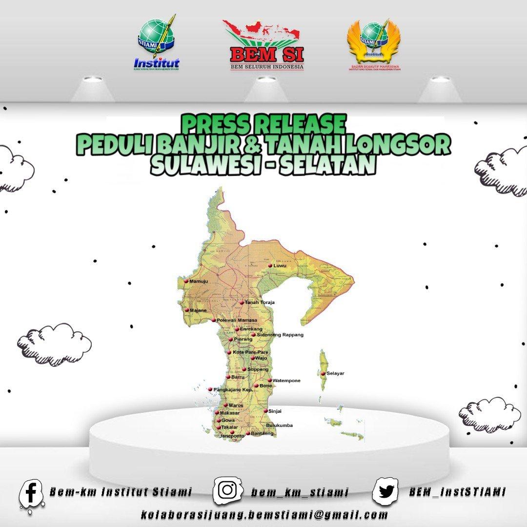 [BEM INFO] [PEDULI BANJIR & LONGSOR SUL-SEL]  KM INSTITUT STIAMI (12/02/2019) Presiden Mahasiswa BEM KM INSTITUT STIAMI telah mengalokasikan Bantuan untuk korban Bencana Alam Banjir dan Tanah Longsor di Sulawesi Selatan.