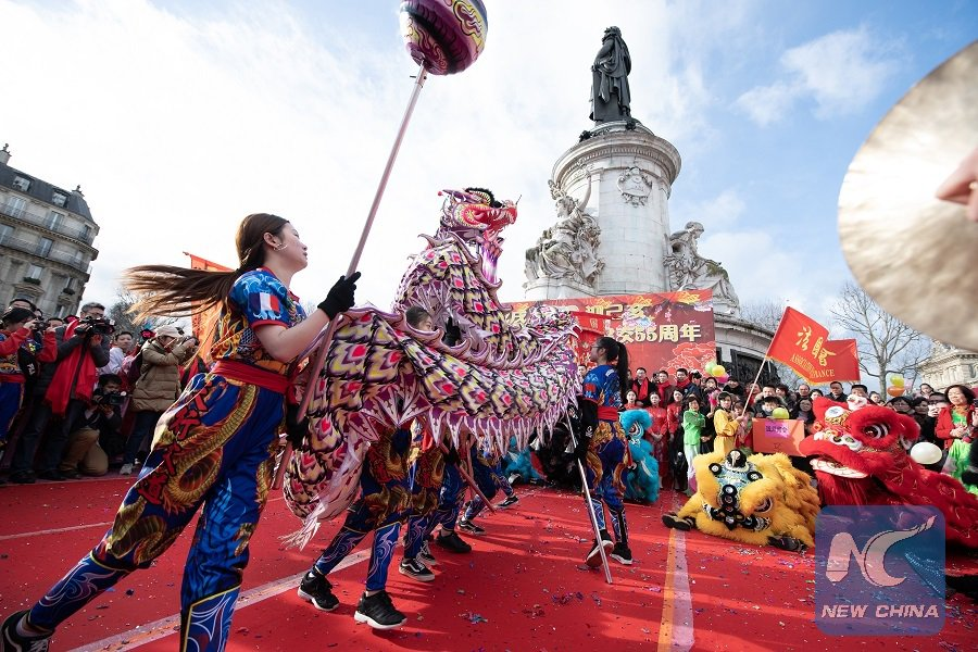 Celebration featuring lion dance held at Republic Square in Paris for #ChineseNewYear