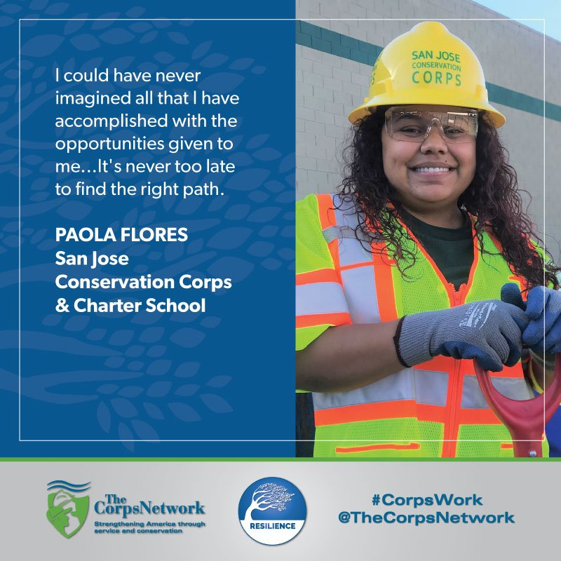 Congratulations 2019 Corpsmember of the Year & @AmeriCorps alum Paola Flores of @mysjcccs! Thank you for sharing your story of #resilience, strength, & #nationalservice. You are an #inspiration. I am strong. I am capable. I am smart! #CorpsWork.