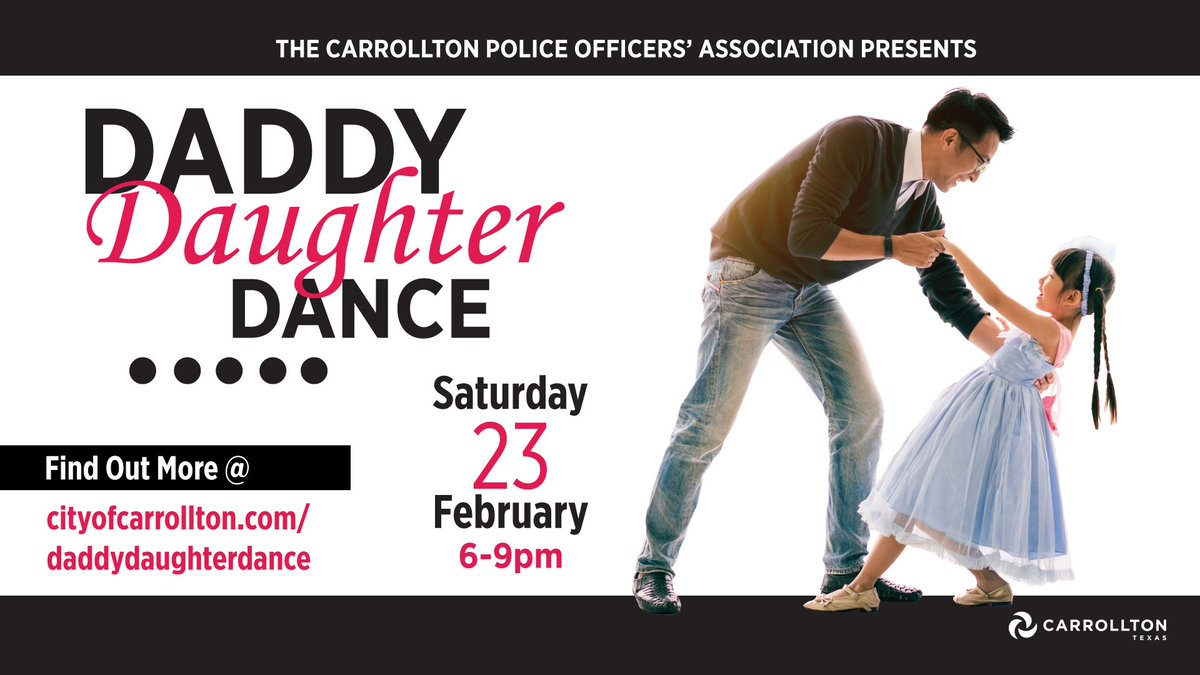 The Daddy Daughter Dance is next Saturday (2/23). Register online today and get a discounted rate for the lively dance party complete with cookies, punch, crafts, games, prizes, and more. http://bit.ly/2SLLtLI