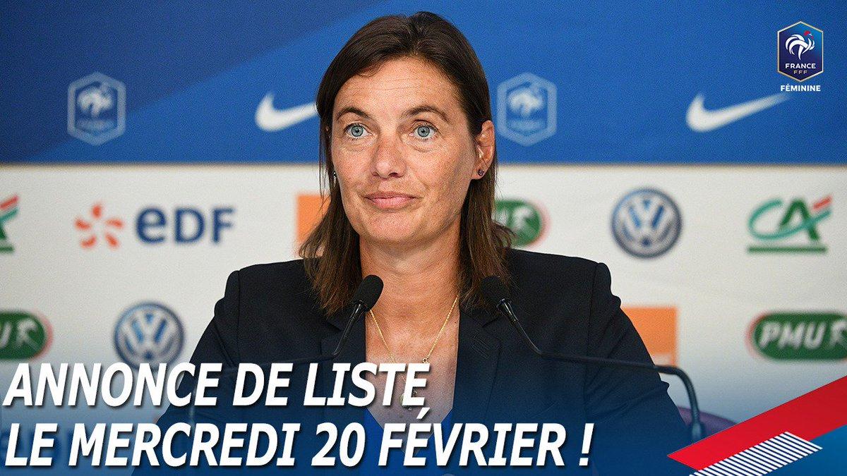 Corinne Diacre communiquera le mercredi 20 février à 11h30 la liste des joueuses retenues pour les 2 matchs de prépa à la Coupe du Monde 2019 :  France 🆚 Allemagne (28/02 à Laval) France 🆚 Uruguay (4/03 à Tours)