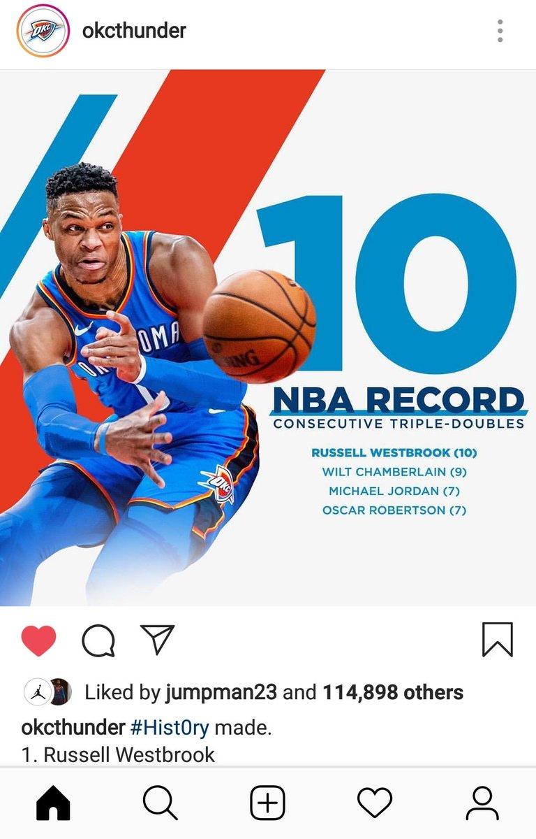 Legend 😎, now go and win that championship ring my man! @russwest44 - #History #OKC #ThunderUp #Westbrook #TripleDoubleKing