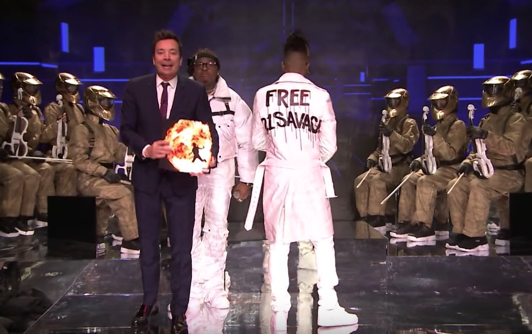 Watch @MetroBoomin perform with Gunna (@1GunnaGunna) & call for @21Savage's release on 'Fallon' https://gum.to/0VNmR8