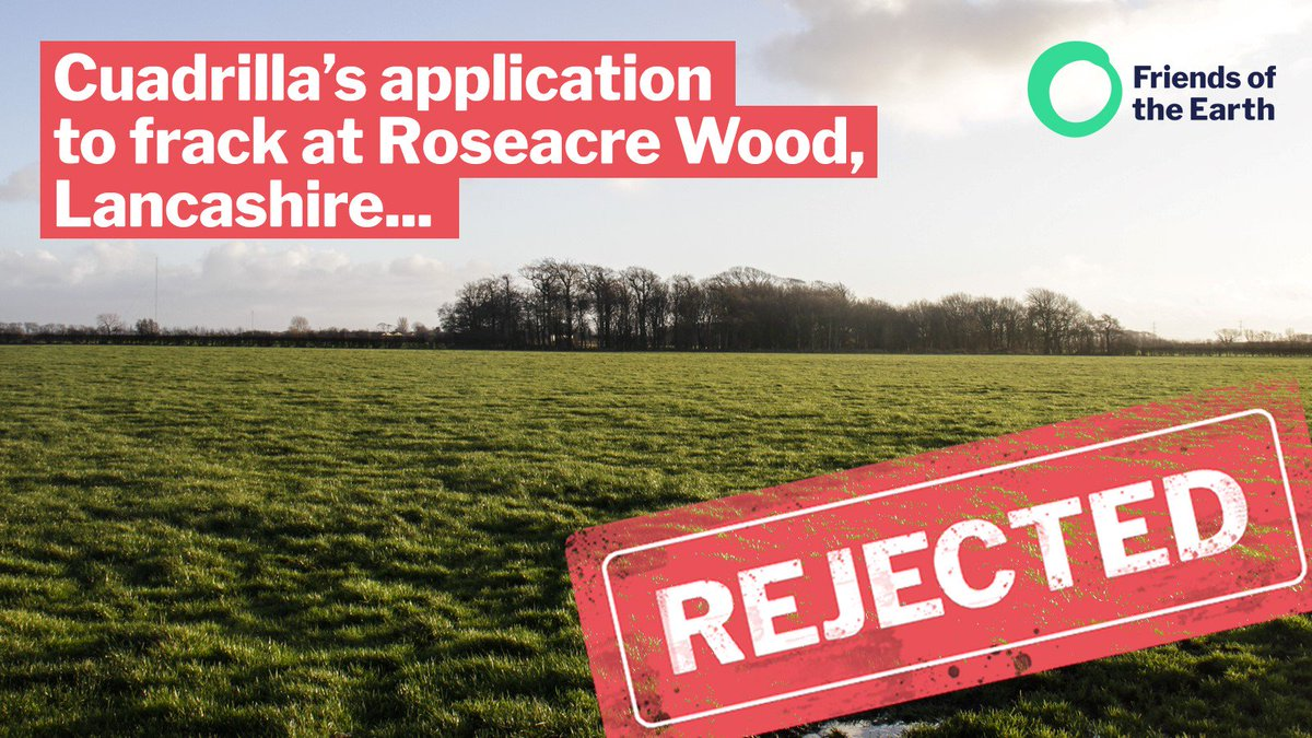 ⚡️Breaking: More Bad News for Unviable #Fracking   Cuadrilla's plans to frack at Roseacre Wood, Lancashire, have been rejected by the Secretary of State.   This is fantastic news, especially for local residents & tireless campaigners. 💪 @frackfreelancs #TuesdayMotivation