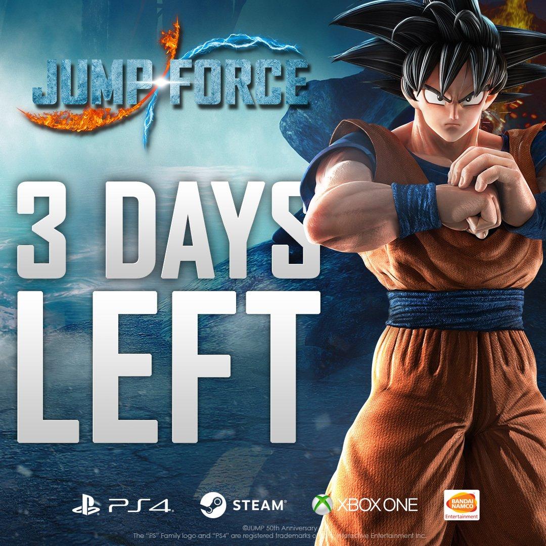 Mancano 3 giorni all'uscita di JUMP FORCE! Goku non vede l'ora di conoscerti. #unite2fight #jumpforce