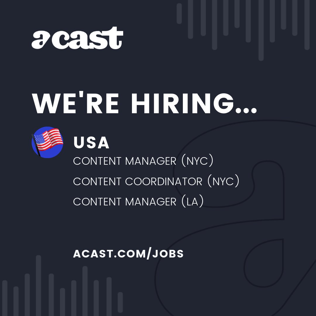 Podcasting is 🔥 and you know you want to join a fast growing team working with the best podcasters around. 🎙️Our US content team is hiring in NYC and LA and we want you to apply 👉 http://acast.com/jobs #jobs #hiring #newjob #podcasts