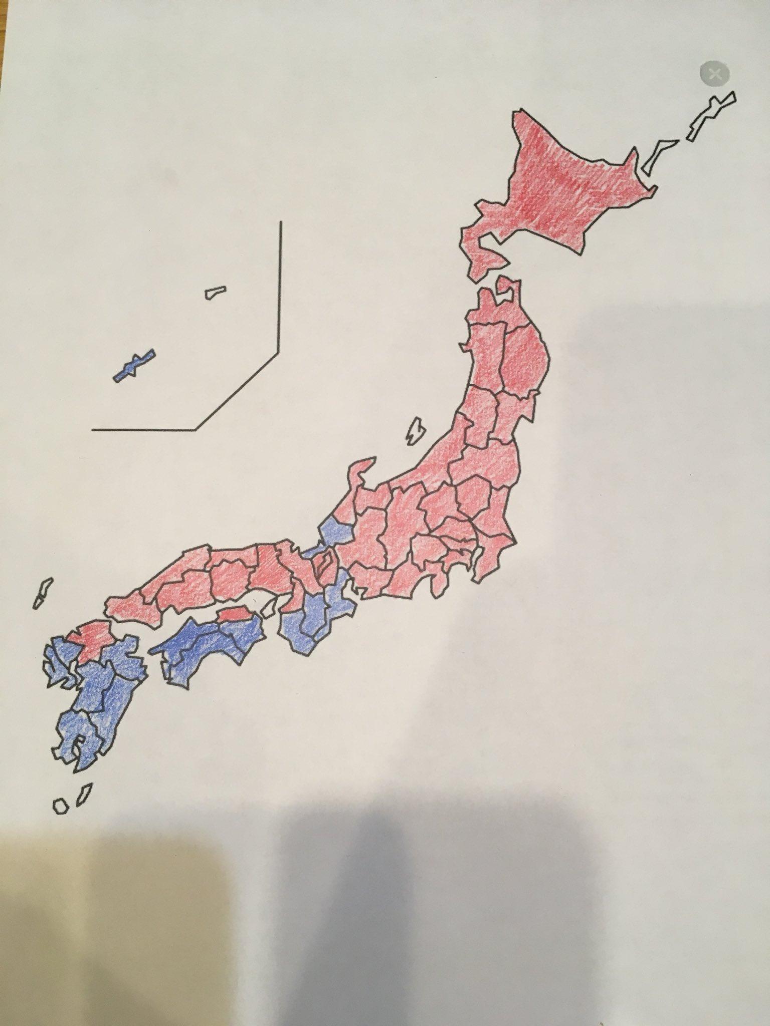 東京駅から乗り換えなしで一本で行ける都道府県を赤で、そうでない都道府県を青で塗ってみた。東京駅がいかに偉大かがよく分かる。