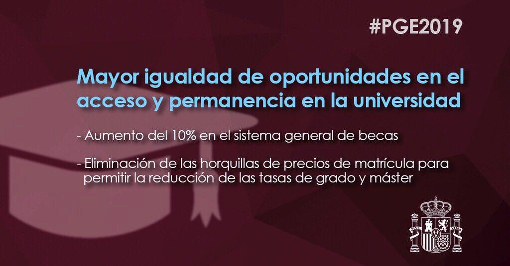 🎓Los #PGEparaUnPaísMejor aseguran mayor igualdad de oportunidades en el acceso y permanencia en la universidad  -Aumentan un 10% la inversión en el sistema general de becas -Eliminan las horquillas de precios de matrícula para permitir la reducción de las tasas de grado y máster
