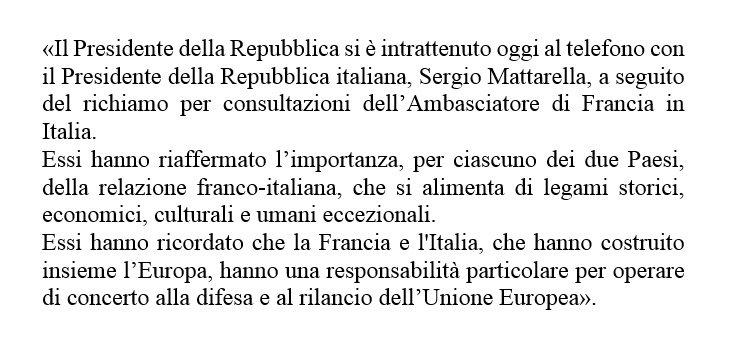 L'Ufficio Stampa del #Quirinale rende noto il comunicato emesso dall'#Eliseo al termine di un colloquio telefonico tra il Presidente #Macron e il Presidente #Mattarella: