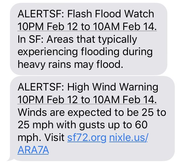 #AlertSF Flash Flood Watch and High Wind Warning in effect tonight. #SafetyFirst<br>http://pic.twitter.com/VGXxAb7jJk