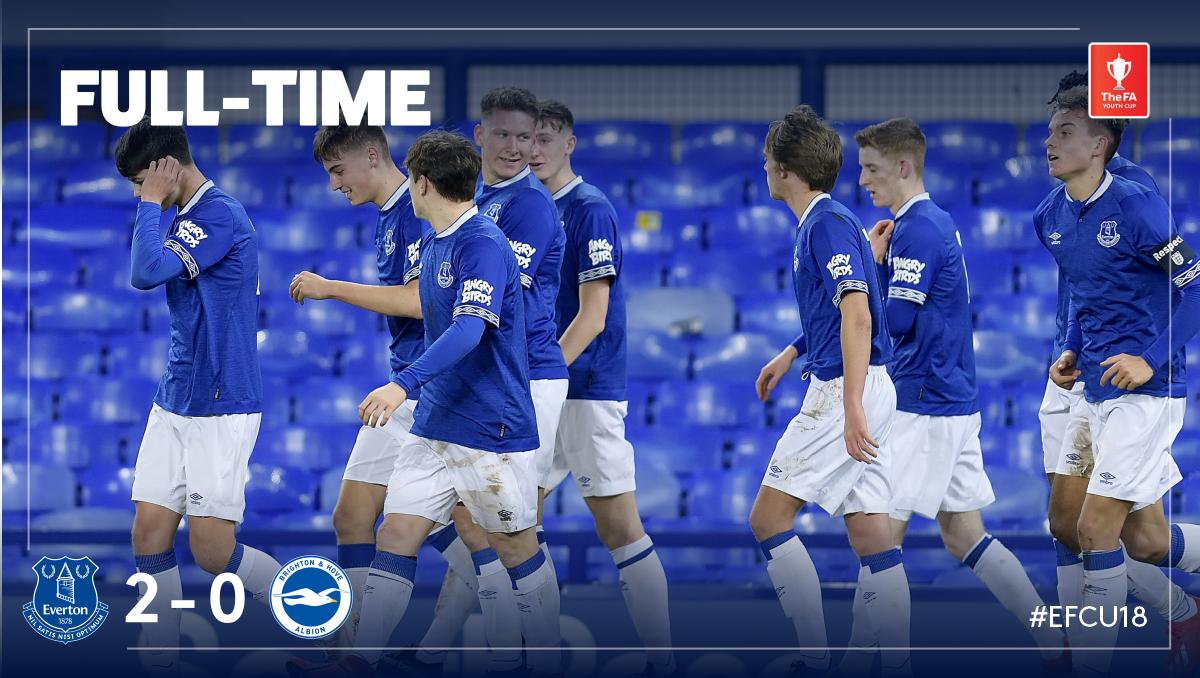 FT: #EFCU18 2-0 @OfficialBHAFC.  A great performance at Goodison by Paul Tait's young Blues, as goals from Collins and Simms book an #FAYouthCup quarter-final tie away to @WBA! 👏🏻🔵⚪️