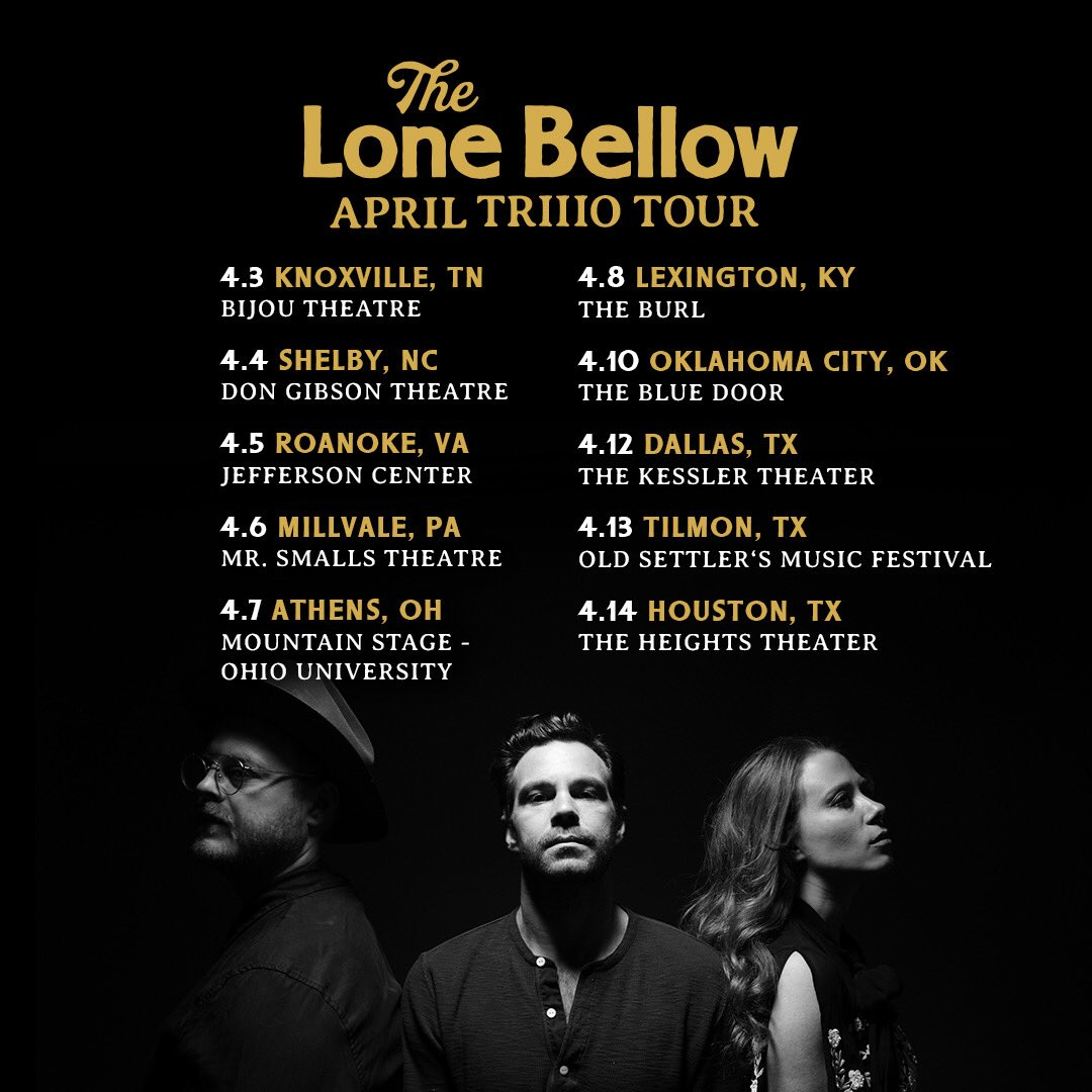 JUST ANNOUNCED: The TRIIIO is taking the road this April! All tickets go on sale this FRI. (2/15) at 10am local. https://www.thelonebellow.com/tour