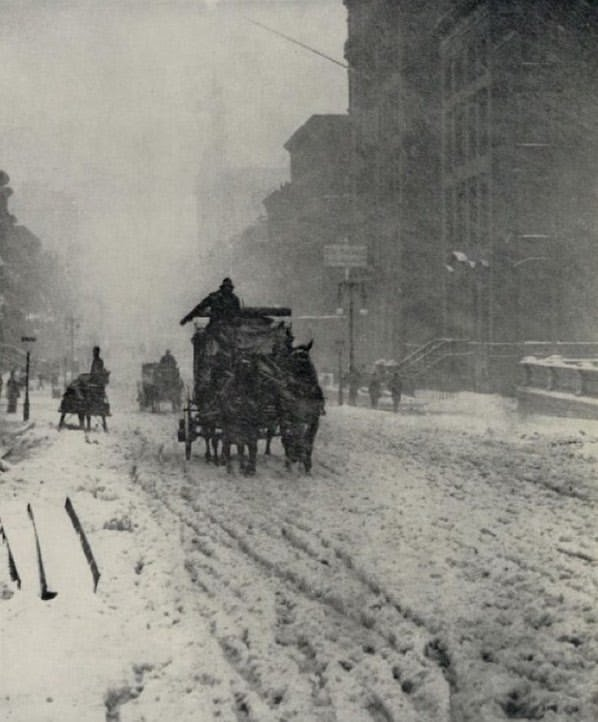 """Alfred Stieglitz, """"Winter Fifth Avenue, New York,"""" 1892-93; from the January 1960 issue of Aperture magazine.  Did you know that our Aperture Archive has every issue of Aperture magazine ever? Subscribe now and have photography's history at your fingertips http://ht.ly/YLum30nFQGR"""