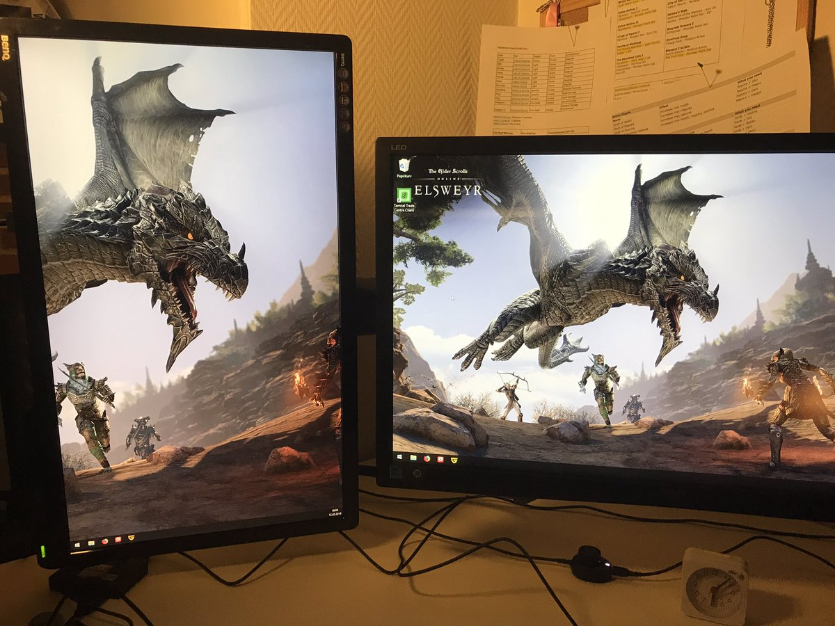 Dual monitor setup made Elsweyr wallpaper look really cool #eso