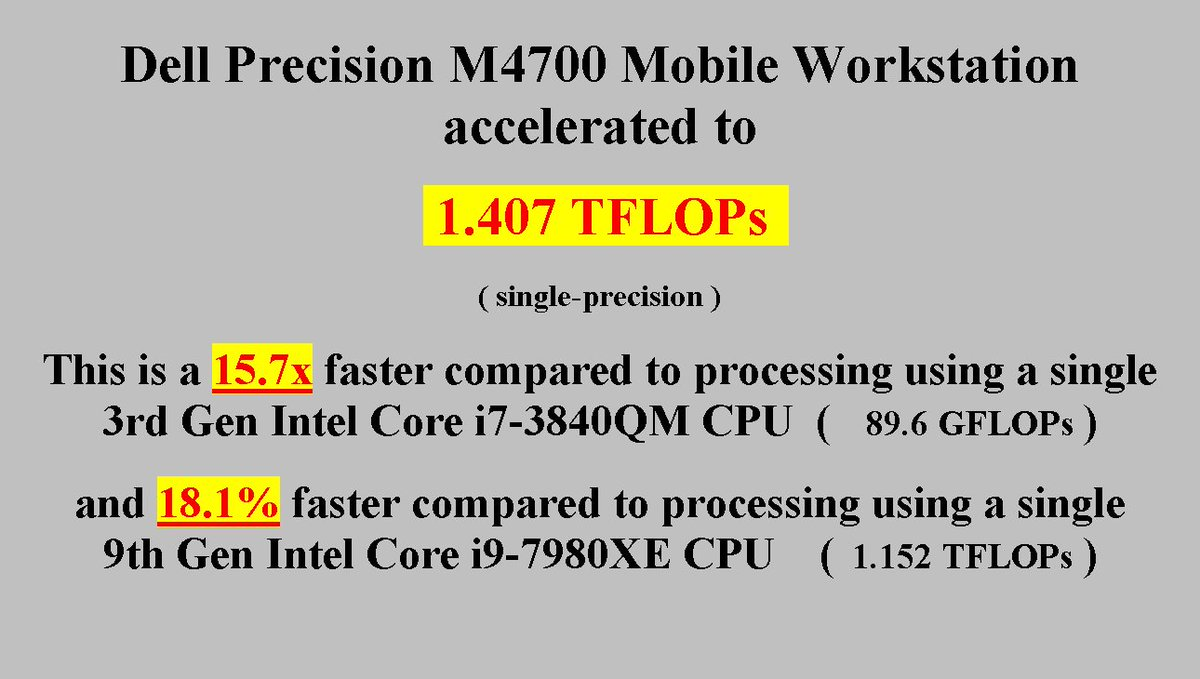 Dell Precision M4700 Mobile Workstation accelerated to 1 407 TFLOPs