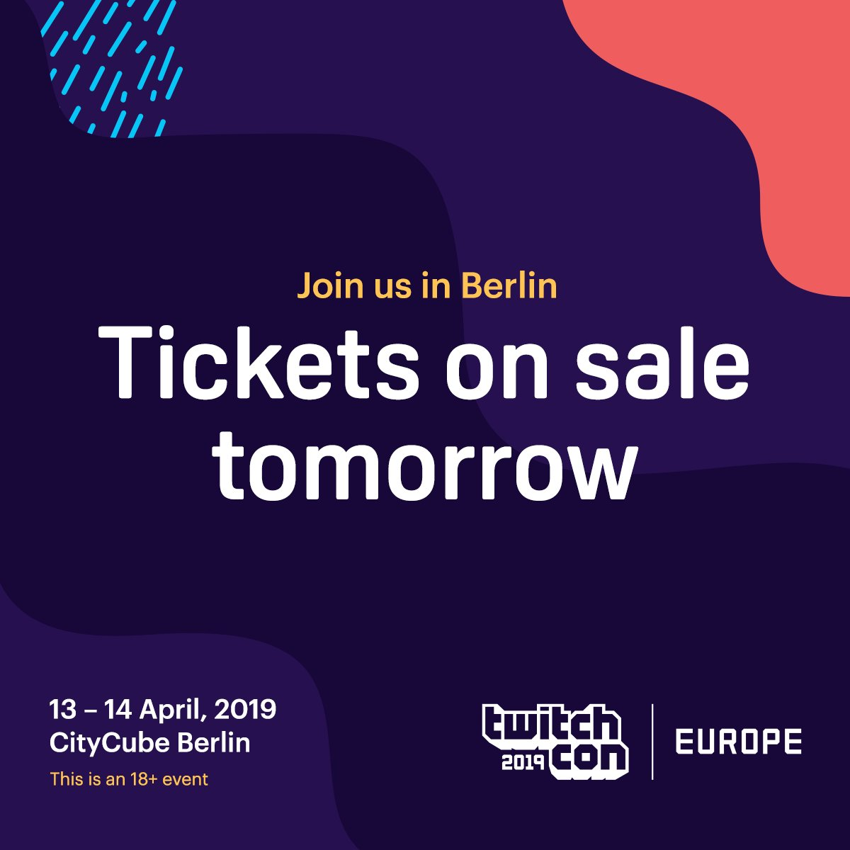 Berlin, you're up. TwitchCon Europe tickets go on sale TOMORROW.   We'll also be updating the website with details about what we're bringing with us - Twitch Rivals, Creator Camp, and so much more. Follow @TwitchCon for more details.