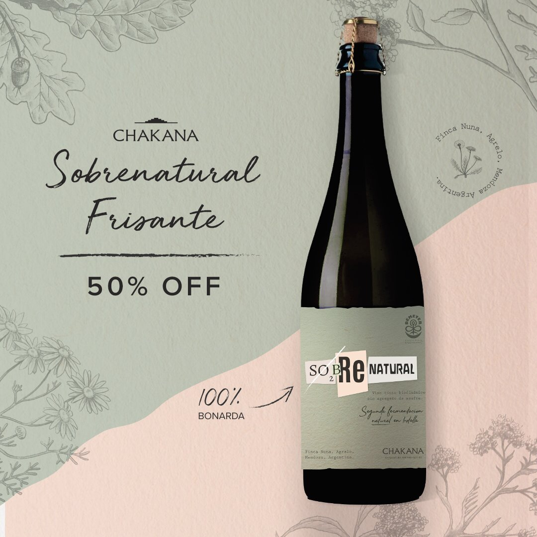 ¡Descubrí Sobrenatural frisante! La expresión más auténtica y novedosa de nuestros vinos orgánicos, biodinámicos y veganos.  Apovechá y llevalo con un 50%OFF ➡️ http://bit.ly/SFrisante  Conocé más de Sobrenatural en http://www.sinazufre.com