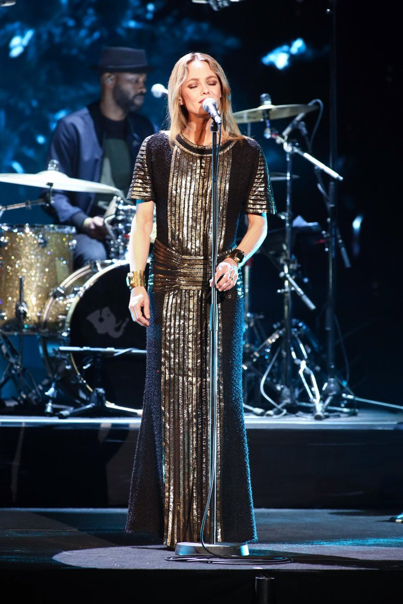 Vanessa Paradis wore a black and gold tweed dress from the #CHANELMetiersdArt 2019/20 Paris-New York collection for her performance at the 34th Victoires de la Musique ceremony in Paris.