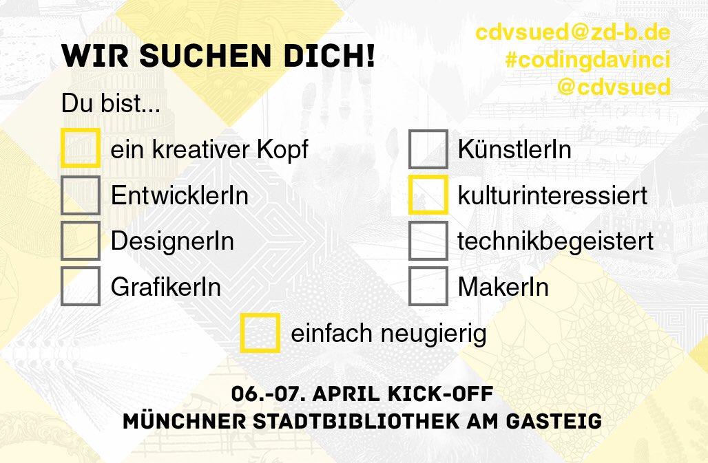 Wir suchen dich! Teilnehmen bei #codingdavinci #cdvsued Kick-Off am 6./7. April in der @StadtBibMuc https://codingdavinci.de/events/sued/