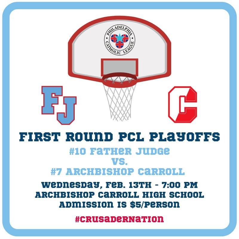 Post-season begins tomorrow for @fjhoops. Come out and support our Crusaders! 🔴🔵🏀 #CrusaderNation @FJAthletics