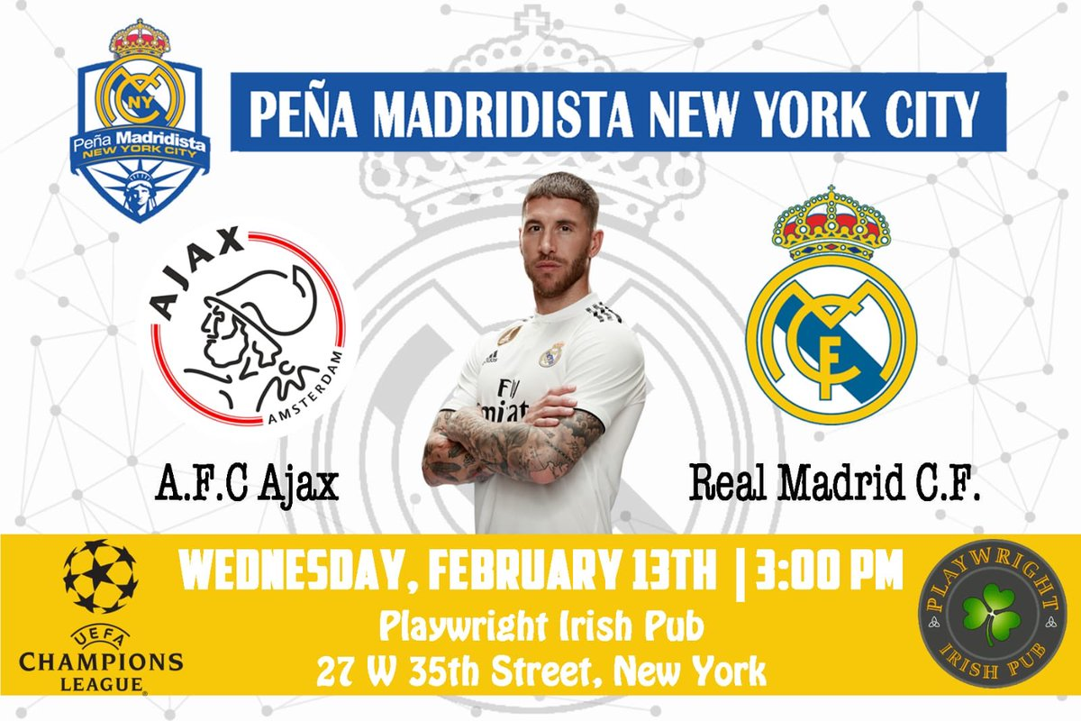 Champions League is back... and so are the Champions of Europe! Come watch with us! #MadridistasNYC @playwright35th #HalaMadrid