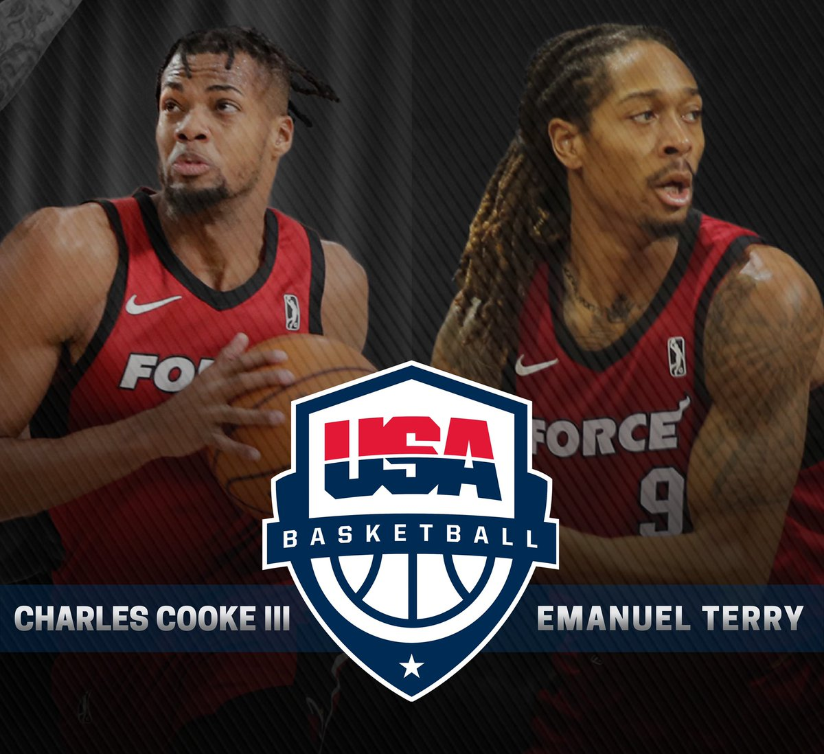 OFFICIAL | Charles Cooke III and Emanuel Terry have been added to the @usabasketball Men's World Cup Qualifying Team Training Camp Roster!   DETAILS &gt;&gt;  https:// on.nba.com/2TLjv05  &nbsp;  <br>http://pic.twitter.com/566yLcEfgX