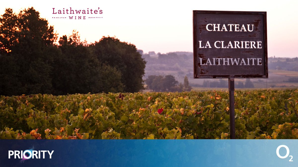 Like the sound of a romantic escape to the French countryside? Win a romantic trip for two to Château La Clarière Laithwaite, Bordeaux 🍷  Prize includes return flights, two-nights' accommodation and a guided tour of the vineyards.  Enter on #O2Priority:  https://t.co/0Mpg17gQQn