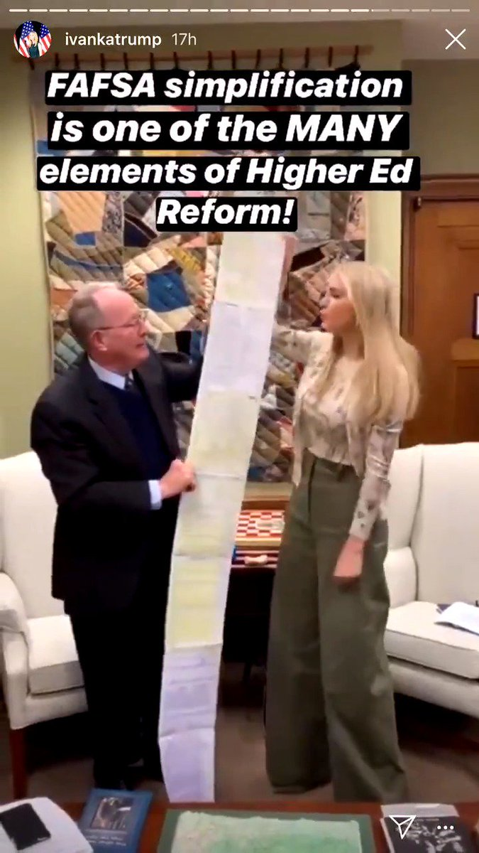 No, this isn't a CVS receipt.   The #FAFSA is too long.   That's why I'm working with @IvankaTrump and @SenDougJones to cut the number of questions in the FAFSA application from 108 to no more than 25. #MakingCollegeWorthIt