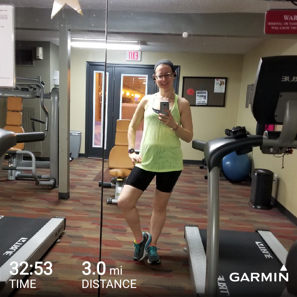 Working from home because of the snow so I got in some morning treadmill miles! Good thing I double checked my @hotchocolate15k training plan because I thought today was still two miles but it was upped to three. #PregnantRunner #HCMinnBR #HC15K #BibChat #BibRavePro