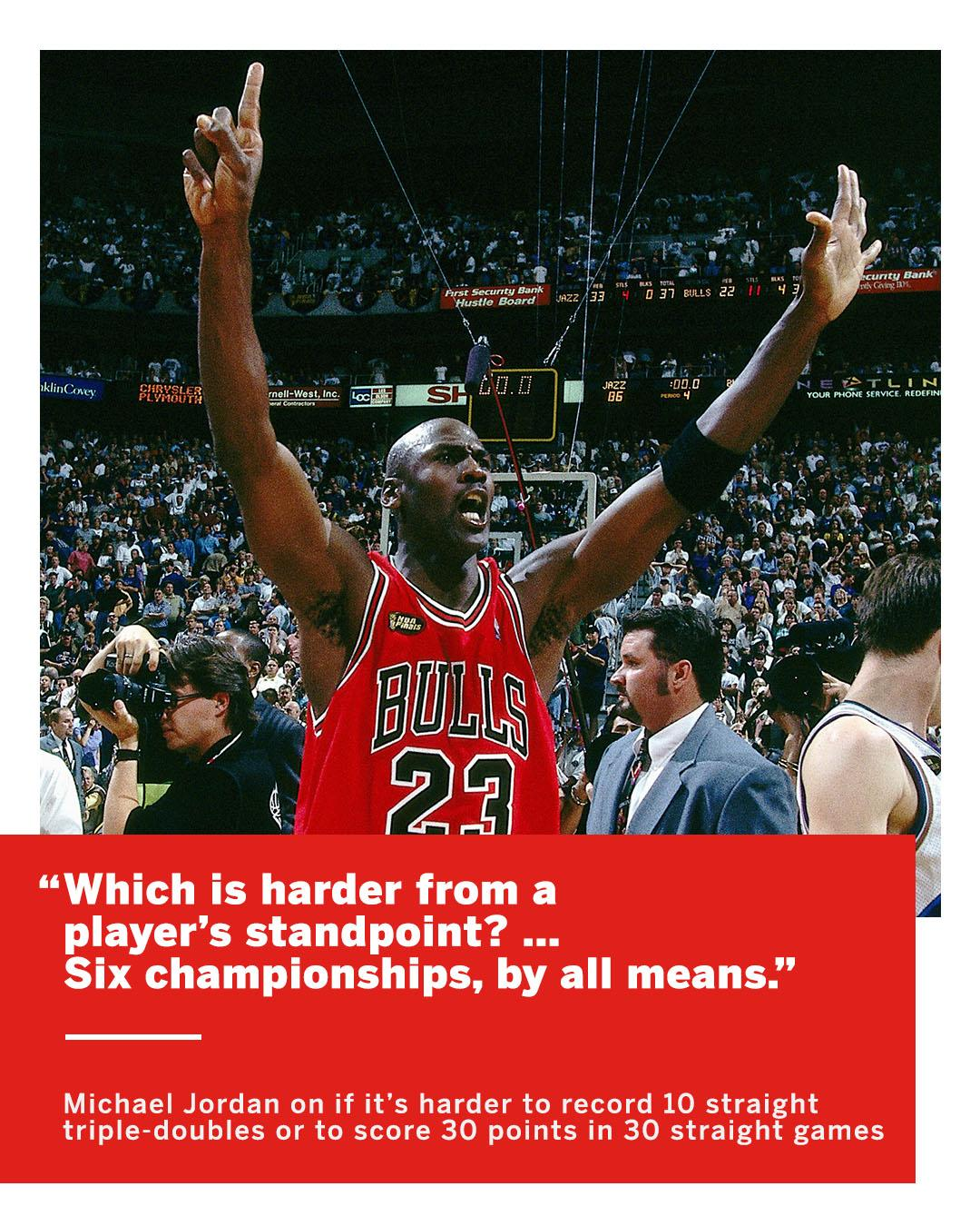 Which is harder to accomplish, triple-doubles or 30-point games?  MJ had the �� answer. https://t.co/mu1iBvESLy