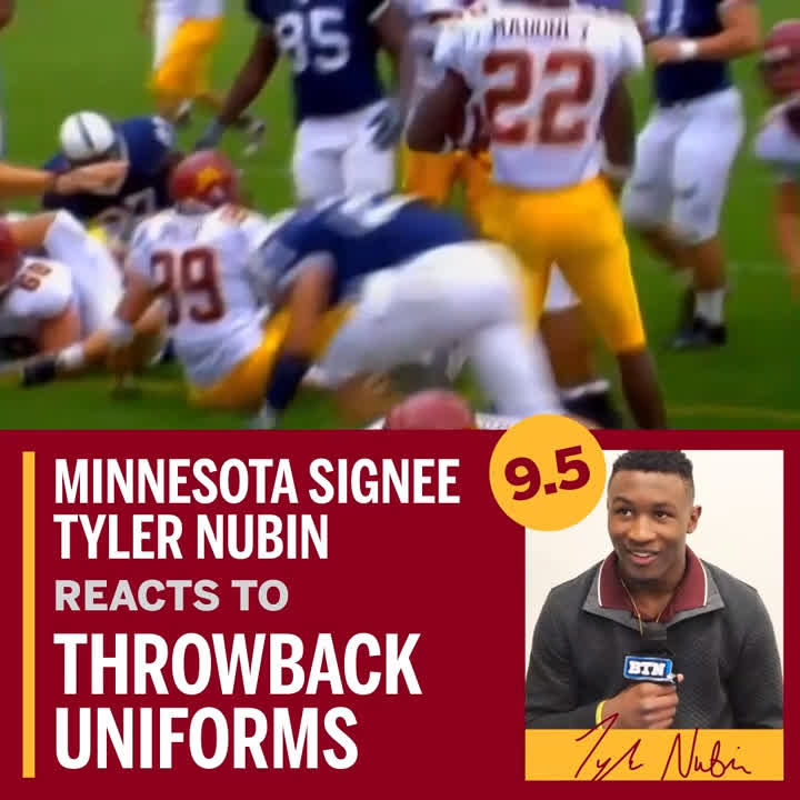 """""""I especially like the gold pants; they were extra-gold back then.""""  @T_Nubin27 is a big fan of @GopherFootball's early 2000s uniform design.  #SigningDayOnBTN x @ZipRecruiter"""