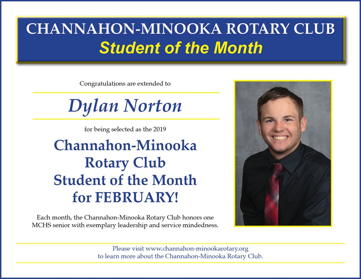 Congratulations Dylan Norton! Channahon-Minooka Rotary Club Student of the Month for February! For more information please visit: http://www.mchs.net/students___parents/announcements/rotary_club_student_of_the_month …
