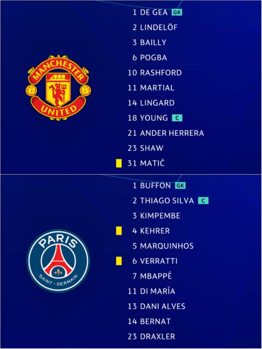 ℹ️ Rashford, Martial & Lingard up top for Manchester United; Mbappé, Di María & Draxler lead Paris attack...  #UCL