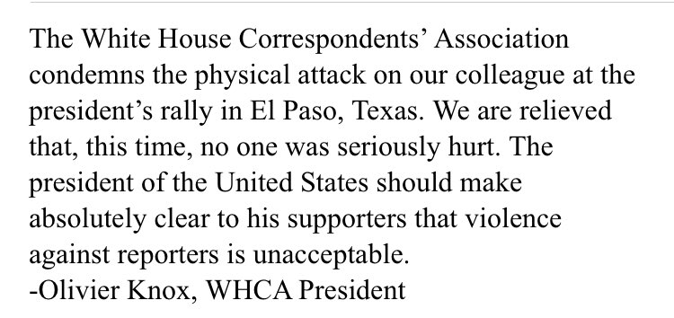 Statement on attack on journalist at president's rally.