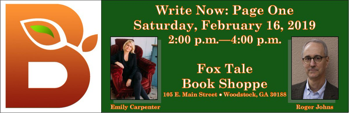 Join us this Saturday at @FoxTale for our first Write Now program of 2019! Featuring @rogerjohns10 and @EmilyDCarpenter, we'll discuss how to #write a killer first page!  https://www.facebook.com/events/318494942125273/ …  #writingcommmunity #writinglife #writerslife #firstpage #amwriting #publishing