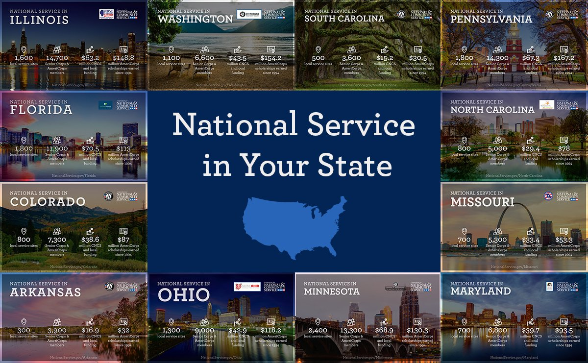 #DYK @AmeriCorps and @SeniorCorps national service programs can be found in every U.S. state and territory? 🇺🇸 Here's a look at the impact our programs have nationwide! https://bit.ly/2SrA8kT