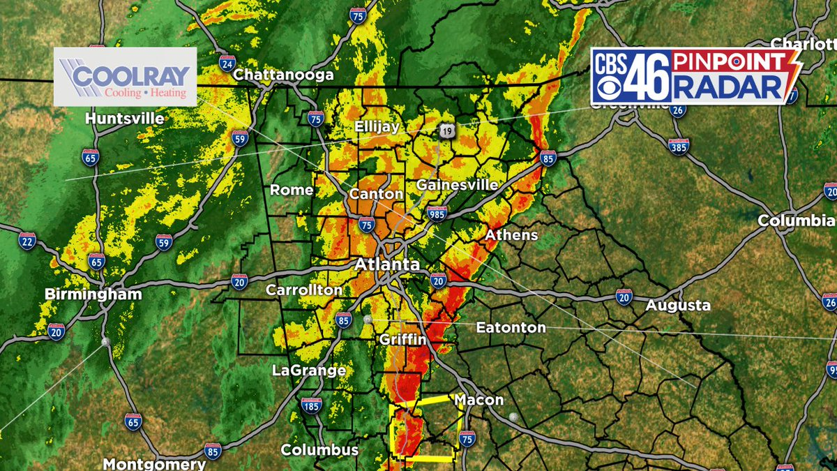 The worst of the weather has now moved east of metro Atlanta | Showers will continue through the rush hour | @cbs46<br>http://pic.twitter.com/v9BZwjVguJ