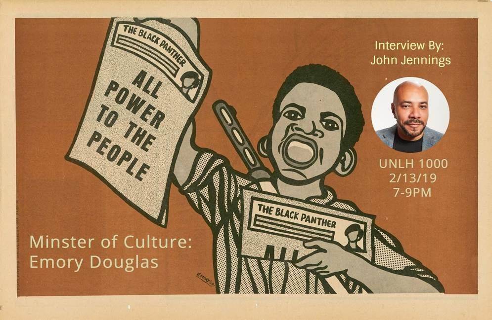 ASP is hosting special guest speaker Emory Douglas, who serves as the Minister of Culture for the Black Panther Party for Self-Defense coming to #UCR on February 13, from 7-9pm in UNLH 1000. John Jennings will be facilitating a great discussion with Brother Emory.