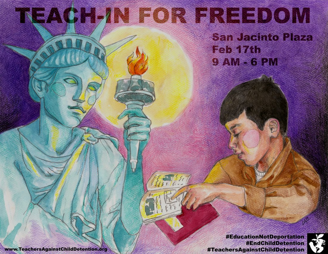 Thank you to #ElPaso artist Ursula Avila for creating this beautiful poster for the Teach-In for Freedom this Sunday.   #teachinforfreedom  #classroomsnotcages  #educationnotdetention.<br>http://pic.twitter.com/UCoHy0CBZI